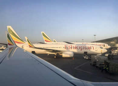 An Ethiopian Airlines Boeing 737-800 parked at Bole International Airport in Addis Ababa