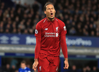 Virgil van Dijk reacts after missing a chance on Sunday.