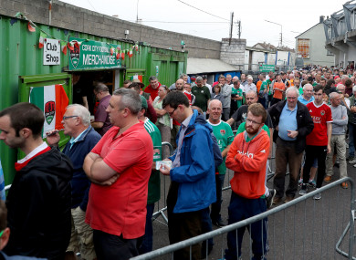 Cork City supporters queue for tickets outside Turners Cross.