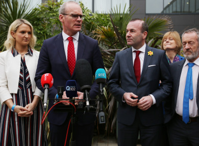 Pictured (LtoR) Minister of State Helen McEntee, Tanaiste Simon Coveney, and the next President of the EU Commission, Manfred Weber.