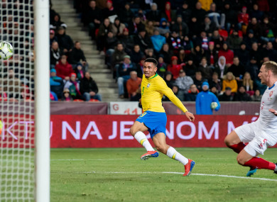 Gabriel Jesus scores for Brazil against the Czech Republic