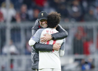 Salah is embraced by Jurgen Klopp after Liverpool's Champions League win over Bayern Munich.