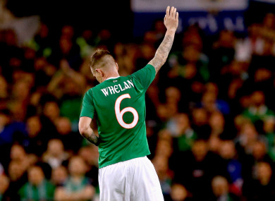 Glenn Whelan waves, eh, see you later to the Aviva crowd against Northern Ireland last November.