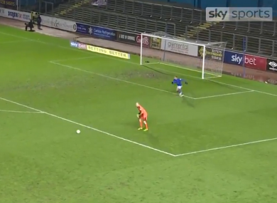The Notts County goalkeeper didn't notice Carlisle striker Hallam Hope sprinting in from behind to nab the ball.