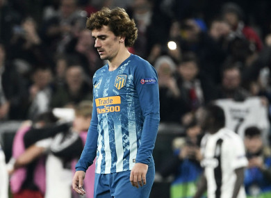 Antoine Griezmann shows his disappointment amid his side's loss to Juventus.