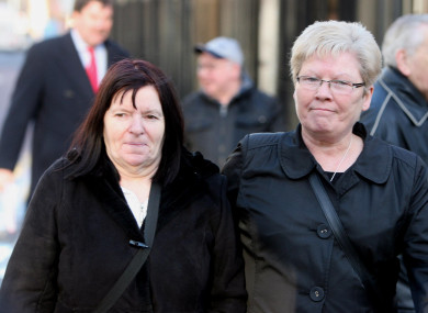 The mother of Pearse Jordan, Teresa Jordan (left) leaves a preliminary inquest into her son's shooting.