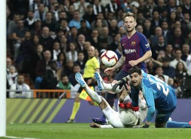 Barcelona's Ivan Rakitic scores against Real Madrid