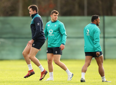 Farrell, centre, with Jacob Stockdale and Bundee Aki at Ireland training last month.