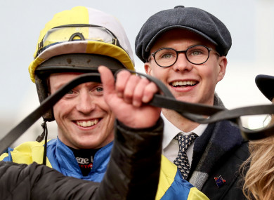 Trainer Joseph O'Brien celebrates winning the sixth race of the day with JJ Slevin on Band Of Outlaws.