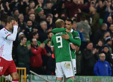 Josh Magennis celebrates with Liam Boyce.