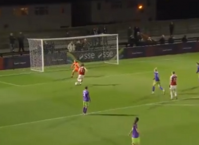 The Republic of Ireland star scored her side's third goal of the night.