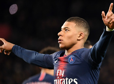 Kylian Mbappe celebrates scoring for Paris Saint-Germain.