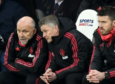 Ole Gunnar Solskjaer with Mike Phelan (left) and Michael Carrick