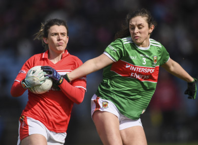 Doireann O'Sullivan of Cork in action against Róisín Flynn of Mayo.