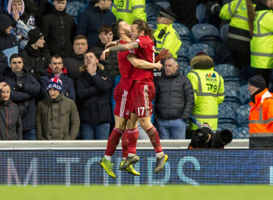 Aberdeen's Connor McLennan celebrates scoring his side's second goal of the game.
