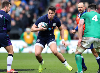 Sean Maitland in possession for Scotland against Ireland.