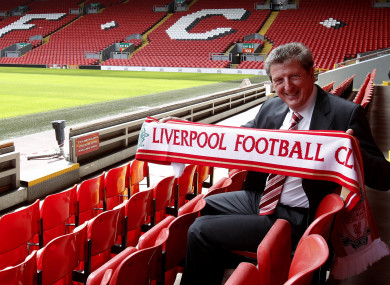 Roy Hodgson at his Liverpool unveiling in 2010.