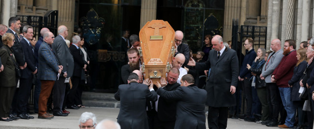 The funeral of murdered journalist Lyra McKee at St Anne's Cathedral in Belfast .