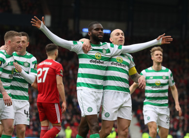 Celtic's Odsonne Edouard (centre left) celebrates scoring his side's second goal of the game.