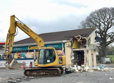 The scene in Dungiven, Co Londonderry, after a cash machine was ripped from a wall and stolen
