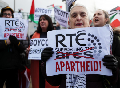 Protests have been ongoing outside RTE headquarters by Irish-Palestinian solidarity groups