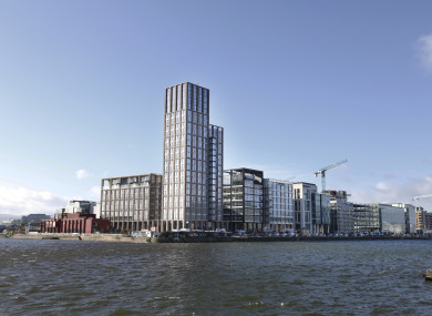 Capital Dock on Dublin's Sir John Rogerson's Quay, the tallest apartment block in Ireland