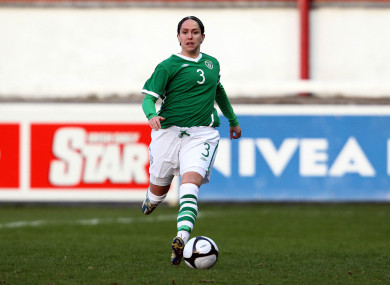 Ciara McCormack in action for the Republic of Ireland in a World Cup qualifier against Switzerland in March 2010.