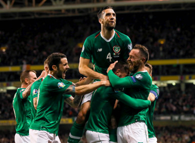 Ireland players celebrate after Conor Hourihane's goal against Georgia.