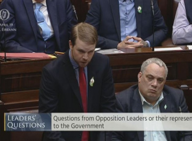 Donnchadh Ó Laoghaire speaking in the Dáil today