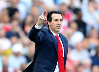 Unai Emery looks on during Arsenal's defeat to Crystal Palace