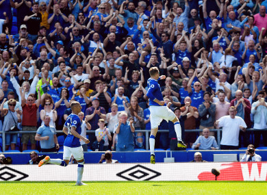 Everton's Gylfi Sigurdsson celebrates scoring his side's second goal.