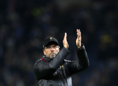Jurgen Klopp applauds the Liverpool supporters after another European success.