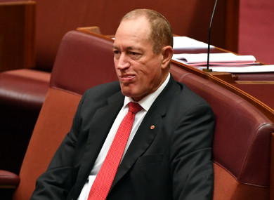 Independent Senator Fraser Anning in the Senate chamber at Parliament House in Canberra, Wednesday, 3 April 2019