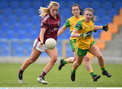 Galway's Megan Glynn is challenged by Niamh Carr of Donegal.