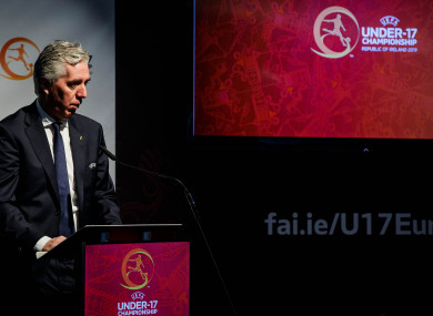 John Delaney speaks at the Euros U17 draw in Dublin last month.