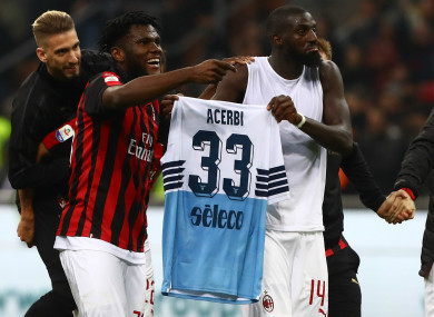 Tiemoue Bakayoko and Franck Kessie pictured after the game.