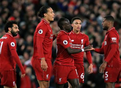 Liverpool's Sadio Mane (centre) celebrates scoring his side's second goal of the game.