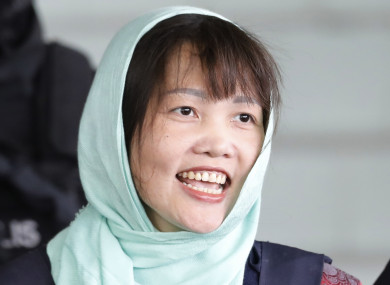 Doan Thi Huong leaving court today