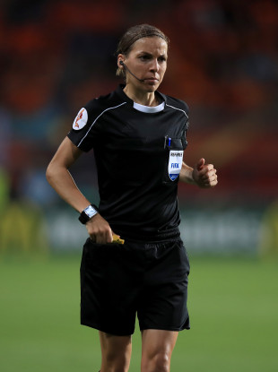Stephanie Frappart pictured during the Uefa Women's European Championships in 2017.