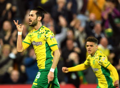 Mario Vrancic celebrates after scoring for Norwich City.