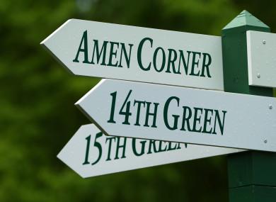 An Amen Corner sign near the 16th green of Augusta National.
