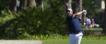 Shane Lowry hits from the fairway of the third hole at the RBC Heritage.