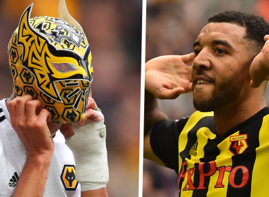 The masked man: Jimenez and Deeney yesterday.