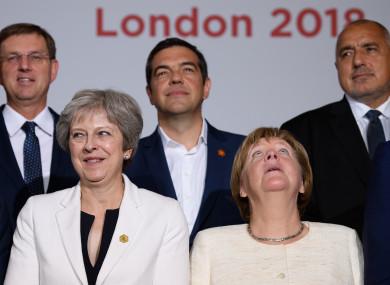 May and Merkel at a summit in London last year.