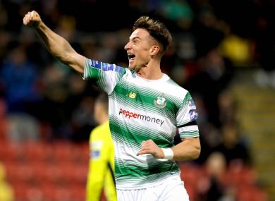 Ronan Finn celebrates his goal.