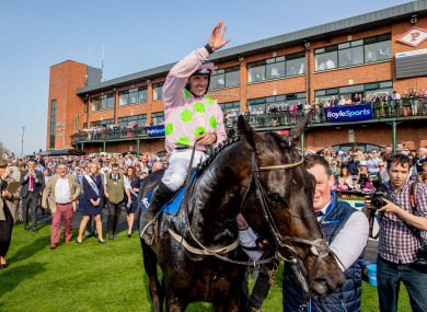 Ruby Walsh celebrating his Grand National win at Fairyhouse.