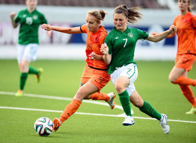 Keenan battling for the ball with the Ireland U19s in 2014.