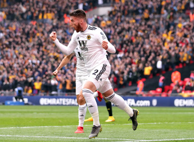 Doherty celebrates giving Wolves the lead.