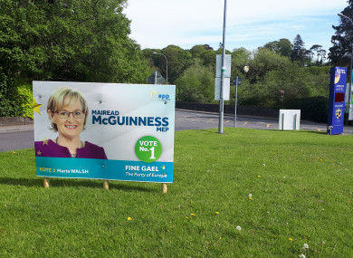 A poster for Mairead McGuinness on the road into Navan, Co Meath.