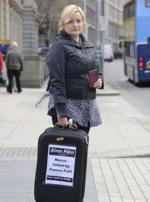 Noeleen Reilly takes part in a demonstration in Dublin to highlight unemployment.